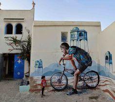 Nosso amigo Fintan Magee está atualmente na África do Norte, onde ele acabou trabalhando em uma nova peça para o projeto Djerbahood na ilha de Djerba, na Tunísia.