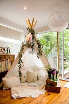 Florals and Teepee - boho party idea Don't miss the splendid ideas in this Boho Chic Baby Shower featured here at Kara's Party Ideas! The details are amazing and breath taking! My New Room, My Room, Room Set, Girls Bedroom, Bedroom Decor, Bedroom Ideas, Bedroom Designs, Bedroom Seating, Baby Bedroom