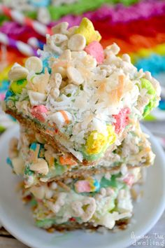 Lucky Charms Magic Bars...white chocolate chips, mini marshmallows, and coconut. Perfect for St. Patrick's Day!