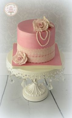 Lace and Pearls Birthday Cake