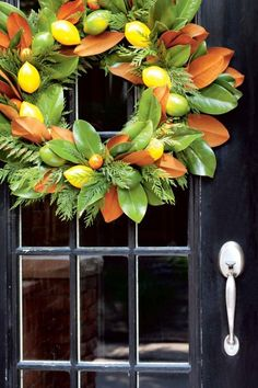 Cedar and magnolia leaves. Instructions on how to make a citrus wreath.