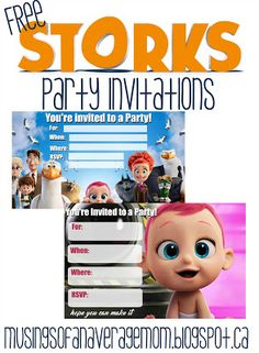 Free Storks Movie Party Invitations