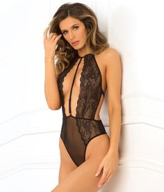 Hot Pursuit Lace Teddy in Black Nylons 8172f82ec