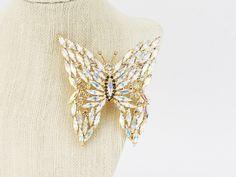90s Vintage Rhinestone Butterfly Brooch