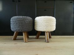 Off white pouf offwhite stool off-white footstool hocker round side table Zpagetti NEW. €74.75, via Etsy.