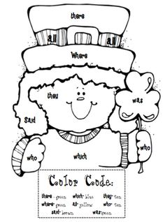 sight word coloring sheet for St. Patty's Day ~ can easily change to an articulation or vocabulary activity