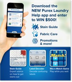 *THIS SWEEPSTAKES HAS ENDED* Download the NEW Purex Laundry Help app and enter to win $500! #Android #iOS