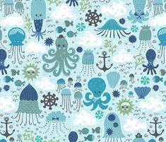 Inky Blue Sea fabric by christinewitte on Spoonflower - custom fabric