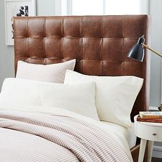 Tall Grid Tufted Headboard, Queen, Leather, Ivory