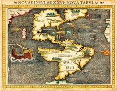 Who discovered America? Sebastian Munster's map, published in 1540, the first to show America as a continent.