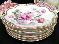 HAVILAND LIMOGES FRANCE BALTIMORE ROSE SET OF 6 PLATES GOLD BANDS PAINTED ROSES