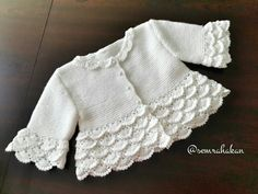 lace baby jacket knit with crochet accents from asian magazine found in russian site httpwwwliveinternetruusersbaby charts included - PIPicStats Baby Sweater Patterns, Baby Cardigan Knitting Pattern, Knitted Baby Cardigan, Crochet Jacket, Knitted Baby Blankets, Baby Knitting Patterns, Baby Patterns, Diy Crafts Knitting, Knitting For Kids