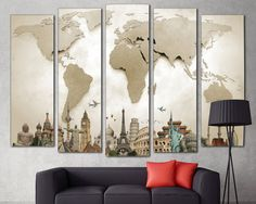 LARGE World Map Canvas Print Wall Art 5 Panel Art Extra Large