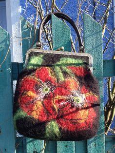 Handmade felted bag art purse frame black by FeltingBottega
