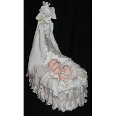Baby Bassinet Cake Topper, Baby Shower Cake Topper Pink or Blue Great Centerpieces Topper for Baby Shower Girls or Boys Decoration This Victorian Bassinet with