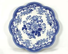 "Vintage Spode Blue and White Buffet/Dessert Plate, Blue Room Collection, ""British Flowers - Rosa"""