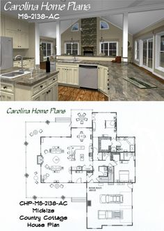 midsize country cottage house plan with open floor plan layout great for entertaining - Open Floor Plans