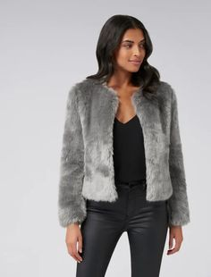 Ever New Womens Angel Cropped Faux Fur Coat - Grey Mist Grey Faux Fur Coat, Coats For Women, Jackets For Women, Wrap Coat, Petite Fashion, Womens Fashion, Spring Fashion, Knitwear, Bomber Jacket