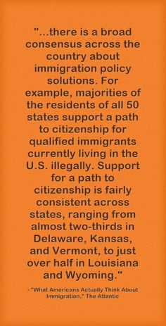 """This is from an article today in The Atlantic headlined """"What Americans Actually Think About Immigration,"""" which describes the result of a nationwide 40,000 person poll: Today, the Public Religion ..."""