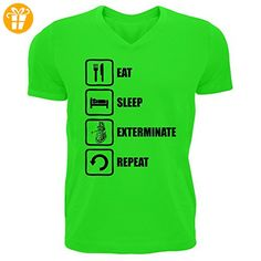 Doctor Who Inspired Eat Sleep Exterminate Repeat Dalek Graphic Men's V-Neck T-shirt Small (*Partner-Link)
