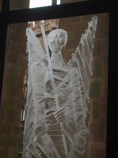 Engraved Angel on wall of glass, Coventry Cathedral by John Hutton. Coventry Cathedral, Glass Engraving, Guardian Angels, Mid Century Furniture, Stained Glass, Glass Art, Vases, Mystery, Wedding