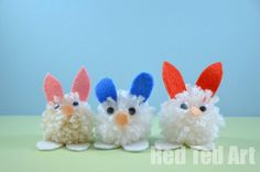 "Easter Bunny Pom Poms - a different ""method"" to make it easier for small hands."