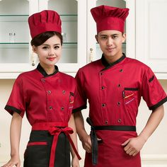 """HOT PRICES FROM ALI - Buy """"high quality 2017 Summer Short-sleeved Chef service jackte Hotel working wear Restaurant work clothes Tooling uniform cook Tops"""" from category """"Novelty & Special Use"""" for only USD. Chef Dress, Waiter Uniform, Restaurant Uniforms, Corporate Uniforms, Work Aprons, Uniform Shirts, Maid Dress, Spring Fashion Trends, Summer Shorts"""