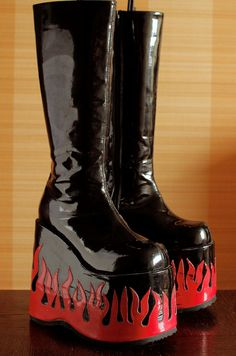 Fabulous DEMONIA tower flame platform boots by VintagePlatformDeal