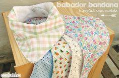 Babador bandana super fofo para os bebês, com molde em PDF para imprimir e tutorial de costura.
