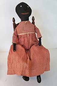 Early black cloth doll with applied nose 20""