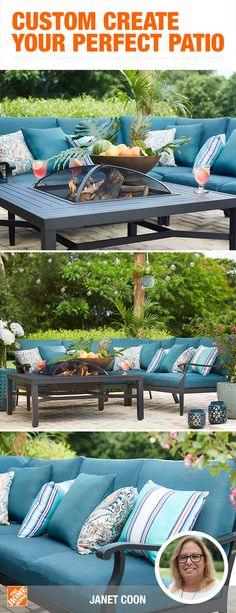 Whether your outdoor oasis dreams consist of a large lounging area or a simple bistro set, you can make it happen with customizable patio collections. With the freedom to choose the size, color, fabric and more, you can capture your style no matter your s Outdoor Rooms, Outdoor Living, Outdoor Patios, Outdoor Areas, Fire Pit Furniture, Furniture Sets, Outdoor Furniture, Outside Patio, Deck Decorating