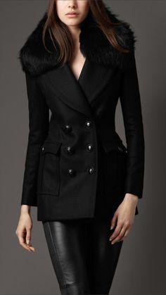 Burberry London women fur collar pea coat... another coat i love!!!