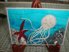 Jellyfish Fabric Postcard Textile Art Mini by kimstexascreations, $10.00