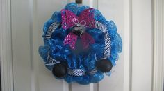 Valentine's Day Deco Mesh Wreath  Teal Pink and by BabesnBowsBoutique