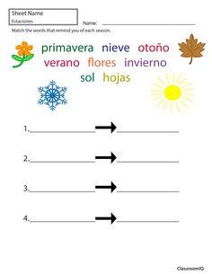 Seasonal words in Spanish #spanishworksheets #classroomiq #newteachers