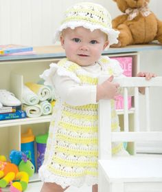 Springtime Baby Dress and Hat Free Crochet pattern