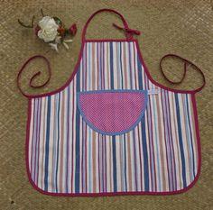 Tablier de cuisine bayadère, avec poche à pois roses pour enfant…