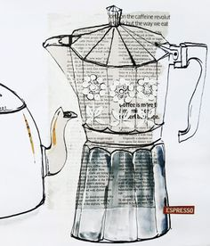 The Bowerbird: Coffee pot collage Coffee Illustration, Cute Illustration, Coffee World, Coffee Art, Kitchen Art, Food Art, Sketches, Inspiration, Drawings