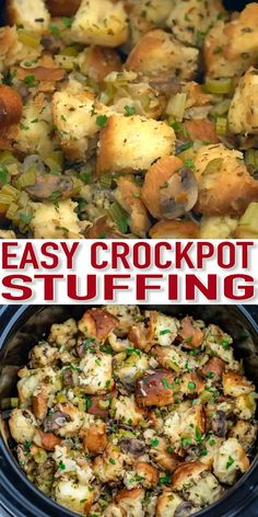 Crockpot Stuffing is moist, hearty, and perfectly seasoned! Easy to prepare using the slow cooker, it makes the perfect Thanksgiving side dish! patricks day food slow cooker Easy Crockpot Stuffing - Sweet and Savory Meals Slow Cooker Recipes, Crockpot Recipes, Cooking Recipes, Crockpot Side Dishes, Soup Recipes, Keto Recipes, Recipies, Healthy Recipes, Slow Cooking