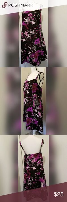 Lane Bryant Black Purple Floral Dress Summer Lane Bryant brand purple and black summer dress.  Women's plus size 16. True to size.  In excellent condition. No flaws noted. From a pet/smoke free home.  Machine washable. Ready to wear.  Inquire with any questions. Lane Bryant Dresses