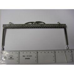 Fecho Metal Cartonagem Prateado Trabalhado Recto 19 cm