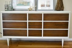 2-Tone Mid Century Modern Dresser - Painted body with ASCP IN Old White, with dark stained drawers.