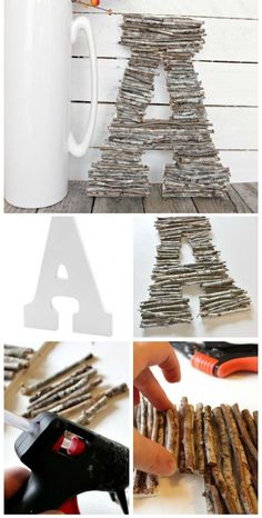 DIY Decorative Letters With Twigs. Super quick and easy project that you can mak… Sponsored Sponsored DIY Decorative Letters With Twigs. Super quick and easy project that you can make for your decor! Looks great on your fall mantel and… Continue Reading → Cute Crafts, Diy And Crafts, Arts And Crafts, Recycled Crafts, Easy Fall Crafts, Decoration Ikea, Fall Decorations Diy, Ideias Diy, Craft Night