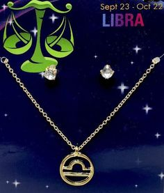 Libra Zodiac Sign Astrology Necklace Earrings Jewelry Gold Toned New