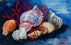 Artwork by Alexandra Aleksandrovna Exster, Still Life with Sea Shells, Made of Oil on canvas