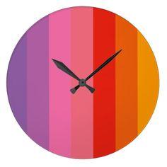 Rainbow festival stripes clock - summer gifts season diy template ideas