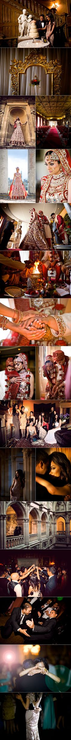 Beautiful fusion wedding incorporating Hindu wedding traditions with a modern Western wedding reception. Love the bride's champagne gown and Hindu lengha. Hindu Wedding Ceremony, Desi Wedding, Wedding Poses, Wedding Ideas, Big Fat Indian Wedding, South Asian Wedding, Indian Bridal, Party Photography, Indian Wedding Photography