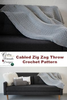 Cabled Zig Zag Throw Textured Home Decor Crochet Pattern by Crafting Friends Designs Knit Or Crochet, Easy Crochet, Free Crochet, Chevron Crochet, Crochet Socks, Afghan Crochet Patterns, Knit Patterns, Crochet Afghans, Crochet Blankets