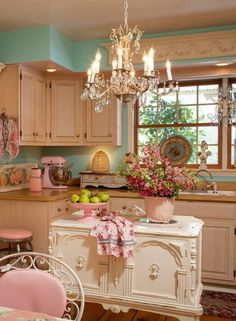 This lovely pink kitchen is not my typical style at all but gosh it is just so pretty~