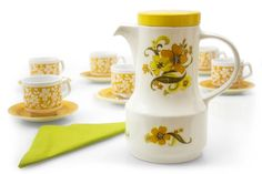 Floral Coffee Pot Vintage 1970's midcentury by SomelikeitvintageCo